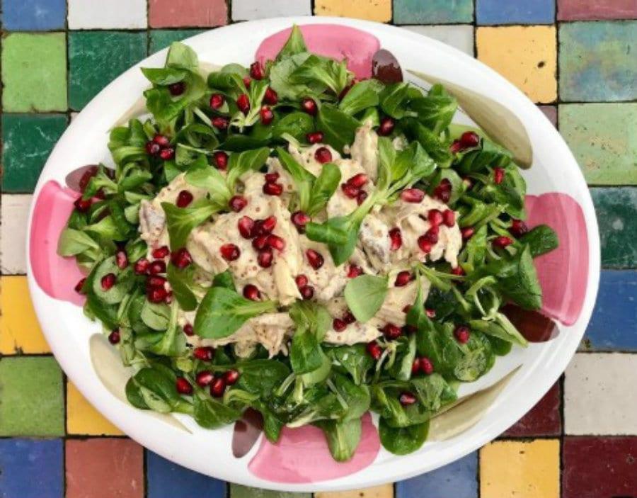 Ricetta dell'insalata di pollo con soncino nel libro The Missoni Family Cookbook