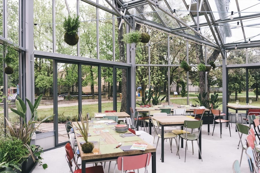 la serra del ristorante Montuliveto dall'interno, con tavoli in legno e piante che scendono dal soffitto