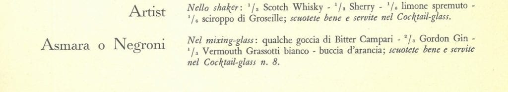 La ricetta del Negroni in Cocktails Portfolio