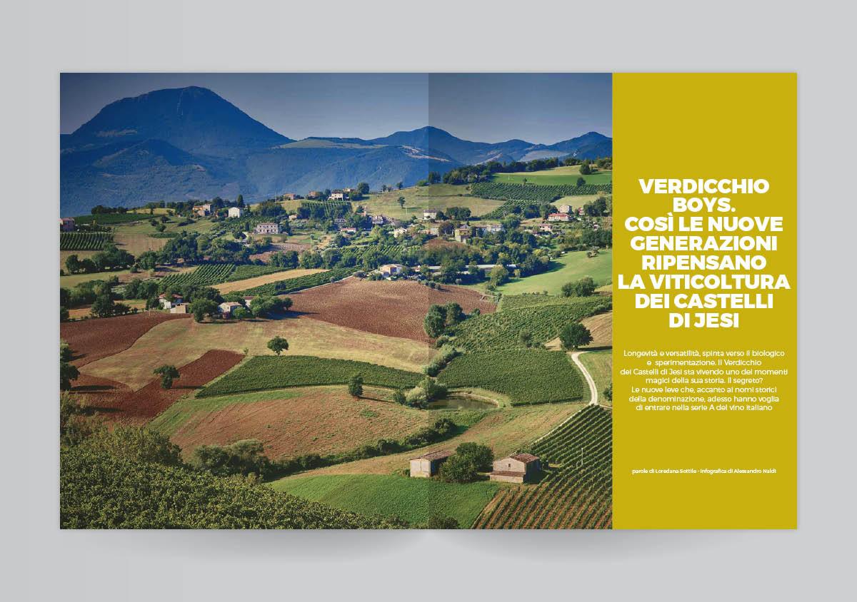 Due pagine aperte del mensile del Gambero Rosso di luglio con il paesaggio delle vigne dei Castelli di Jesi