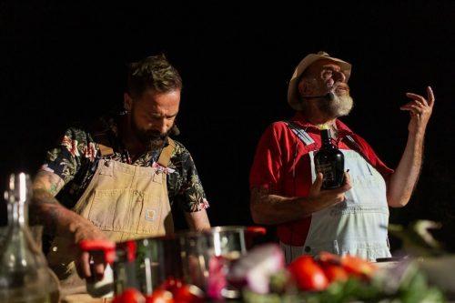 Giorgione e Salvatore Carlucci. Showcooking a Canneto Beach. 21 luglio 2021 foto di Cosimo Calabrese