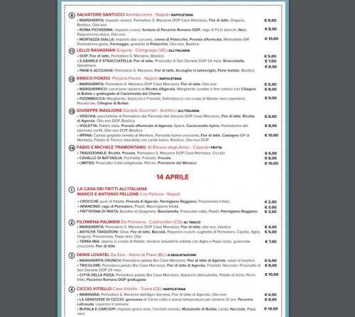 Il menu della Città della Pizza