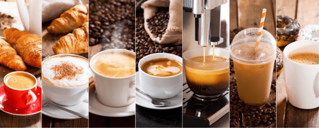 diversi tipi di caffe.Immagin trattadal libro Mondo Caffè