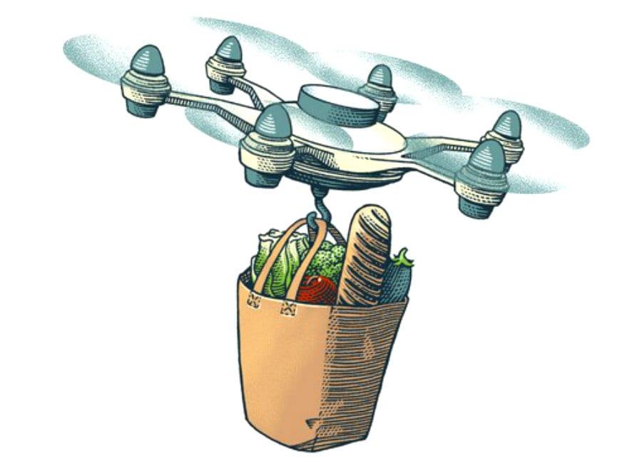 Drone che porta del cibo. Disegno di Marcello Crescenzi