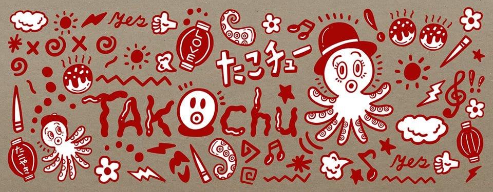 Il logo di Takochu a Milano, disegni rossi su fondo grigio con polpo a fumetti