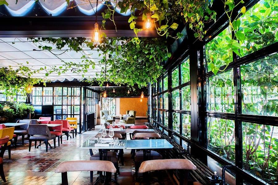 Il giardino-serra del ristorante cockatil bar Marco Martini