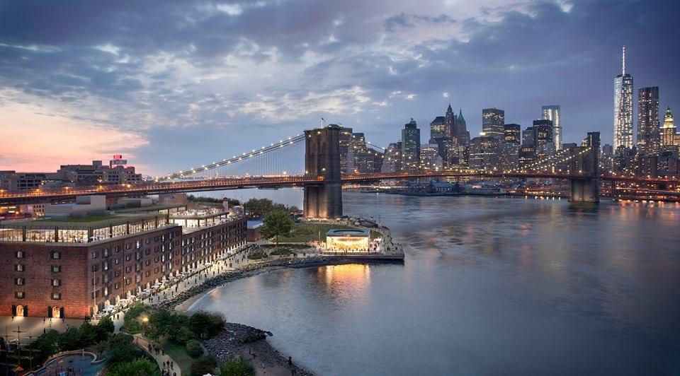 Un render del Time Out Market sull'East River, con il ponte di Brooklyn sullo sfondo
