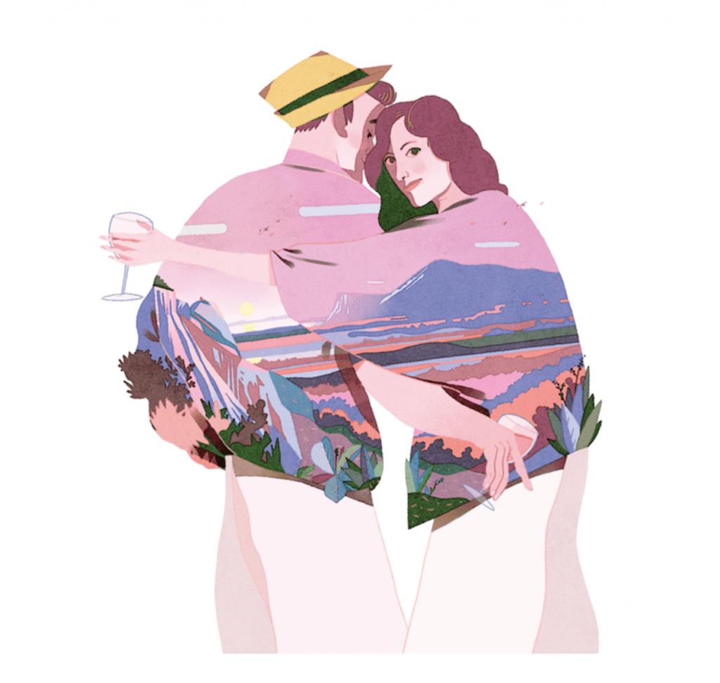 disegno di Gianluca Folì per Valtènesi. Un uomo e una donna abbracciati con ilpanorama di Vaòtènesi sulle giacche presentata a Italia in Rosa 2019