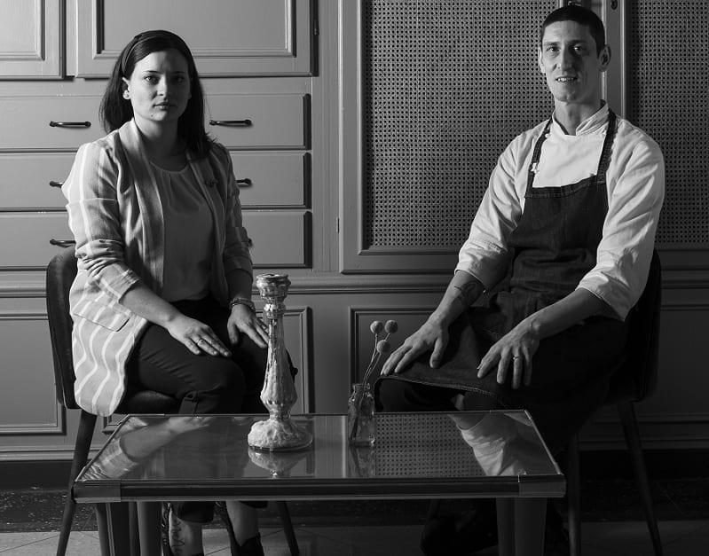 Nadia Moller e Marco Lagrimino, ritratto in bianco e nero